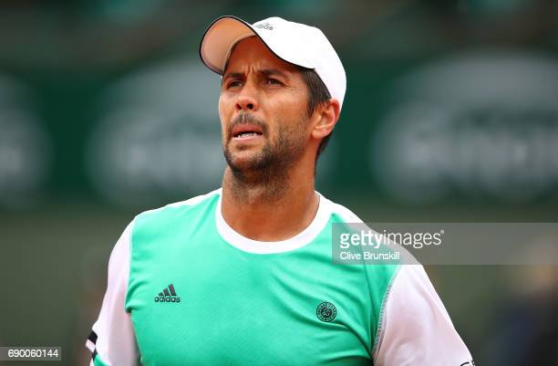 Fernando Verdasco of Spain looks on during the first round match against Alexander Zverev of Germany on day three of the 2017 French Open at Roland...