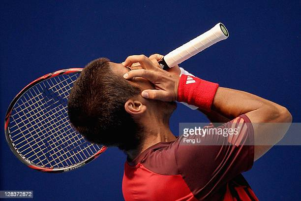 Fernando Verdasco of spain misses a shot from Tomas Berdych of the Czech Republic during the China Open at the National Tennis Center on October 7,...