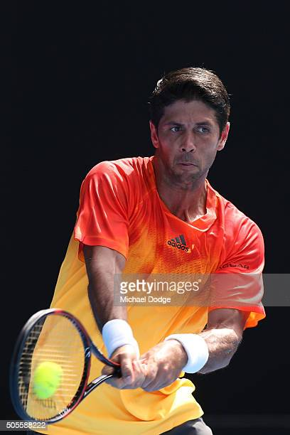 Fernando Verdasco of Spain plays a backhand in his first round match against Rafael Nadal of Spain during day two of the 2016 Australian Open at...
