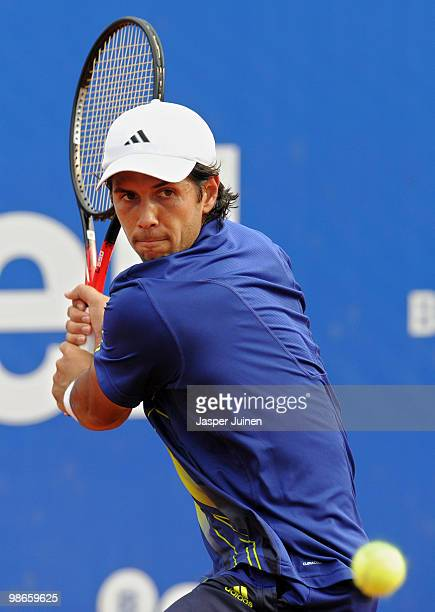 Fernando Verdasco of Spain plays a doublehanded backhand to Robin Soderling of Sweden during the final match on day seven of the ATP 500 World Tour...