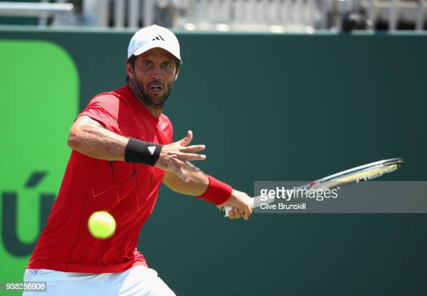 Fernando Verdasco of Spain plays a forehand against Thanasi Kokkinakis of Australia in their third round match during the Miami Open Presented by...