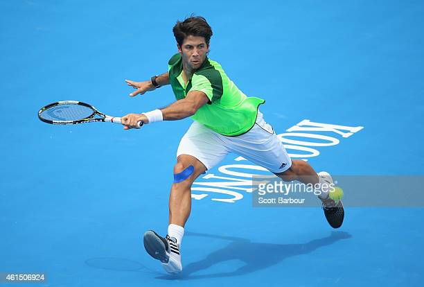 Fernando Verdasco of Spain plays a forehand during his match against Gilles Simon of France during day two of the Priceline Pharmacy Classic at...