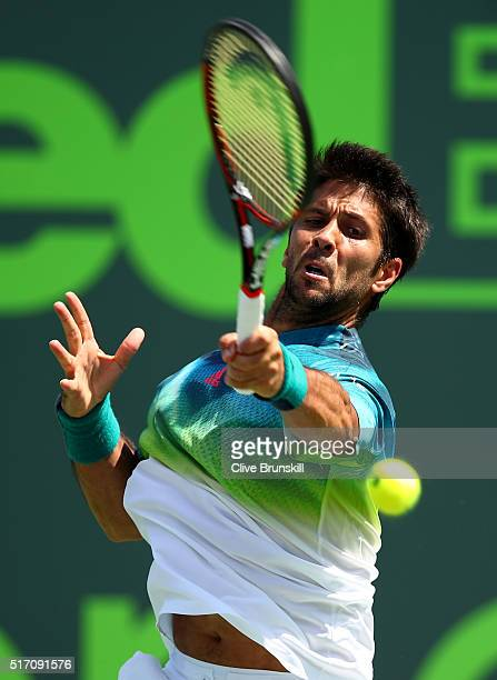 Fernando Verdasco of Spain plays a forehand during his straight set victory against Gilles Muller of Luxembourg in their first round match during the...