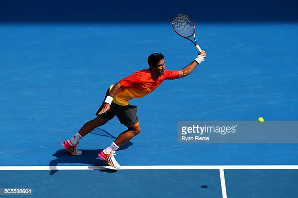 Fernando Verdasco of Spain plays a forehand in his first round match against Rafael Nadal of Spain during day two of the 2016 Australian Open at...