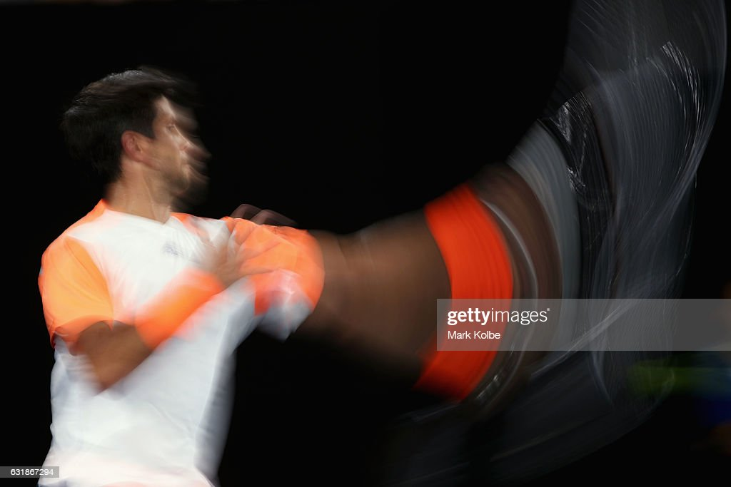 Fernando Verdasco of Spain plays a forehand in his first round match against Novak Djokovic of Serbia on day two of the 2017 Australian Open at Melbourne Park on January 17, 2017 in Melbourne, Australia.