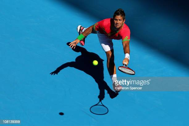 Fernando Verdasco of Spain plays a forehand in his second round match against Janko Tipsarevic of Serbia during day three of the 2011 Australian Open...