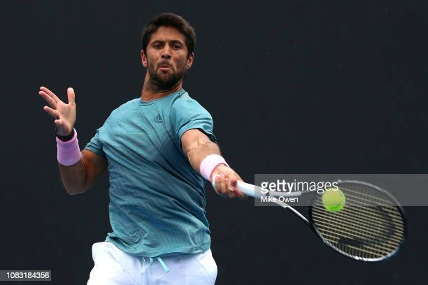 Fernando Verdasco of Spain plays a forehand in his second round match against Radu Albot of Moldova during day three of the 2019 Australian Open at...