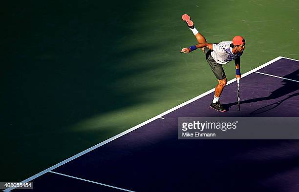 Fernando Verdasco of Spain plays a match against Rafael Nadal of Spain during Day 7 of the Miami Open presented by Itau at Crandon Park Tennis Center...