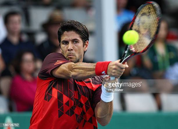 Fernando Verdasco of Spain plays a shot during his game against Carlos Berlocq of Argentina on day three of the 2012 Heineken Open at the ASB Tennis...