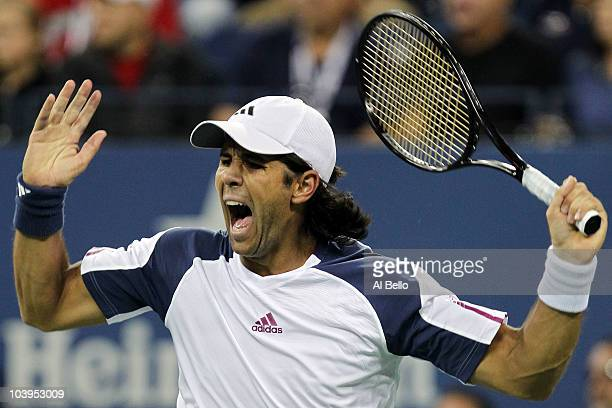 Fernando Verdasco of Spain reacts against Rafael Nadal of Spain during his men's single quarterfinal match on day eleven of the 2010 US Open at the...