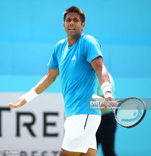 Fernando Verdasco of Spain reacts during his mens singles first round match against Danil Medvedev of Russia on day one of the FeverTree...