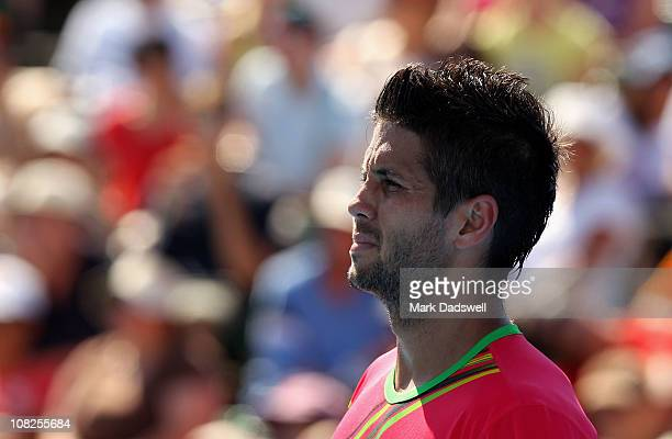 Fernando Verdasco of Spain reacts in his fourth round match against Tomas Berdych of the Czech Republic during day seven of the 2011 Australian Open...