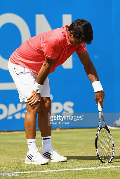 Fernando Verdasco of Spain reacts in his men's singles second round match against Andy Murray of Great Britain during day four of the Aegon...