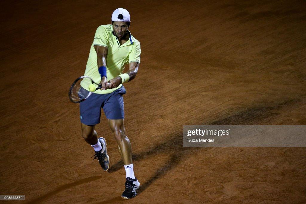 Fernando Verdasco of Spain returns a shot to Dominic Thiem of Austria during the quarter finals of the ATP Rio Open 2018 at Jockey Club Brasileiro on February 23, 2018 in Rio de Janeiro, Brazil.