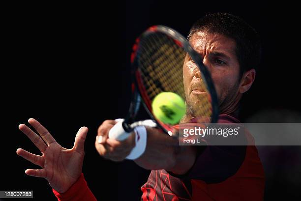 Fernando Verdasco of spain returns a shot to Flavio Cipolla of Italy during the China Open at the National Tennis Center on October 5, 2011 in...