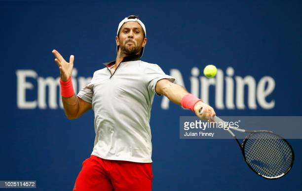 Fernando Verdasco of Spain returns the ball during his men's singles second round match against Andy Murray of Great Britain on Day Three of the 2018...