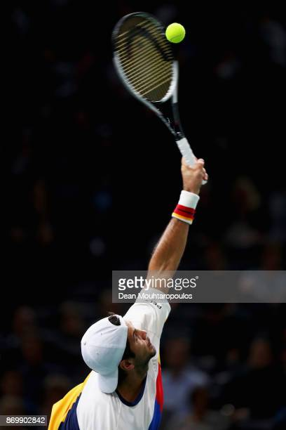 Fernando Verdasco of Spain serves against Jack Sock of the USA during Day 5 of the Rolex Paris Masters held at the AccorHotels Arena on November 3...