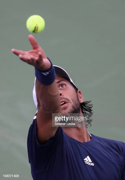 Fernando Verdasco of Spain serves against Michael Berrer of Germany during day 2 of the Legg Mason Tennis Classic at the William H.G. FitzGerald...