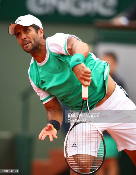 Fernando Verdasco of Spain serves during the first round match against Alexander Zverev of Germany on day three of the 2017 French Open at Roland...