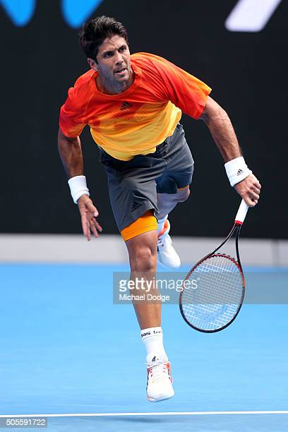 Fernando Verdasco of Spain serves in his first round match against Rafael Nadal of Spain during day two of the 2016 Australian Open at Melbourne Park...
