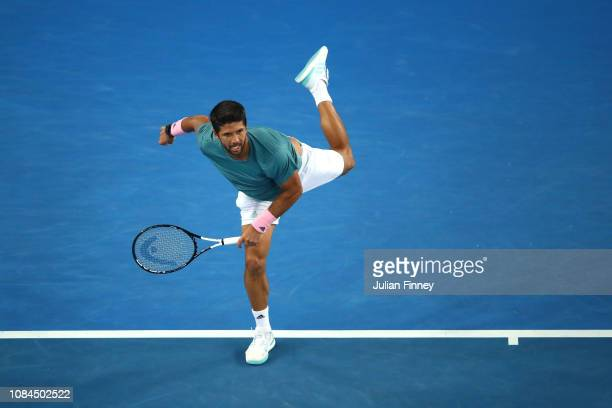 Fernando Verdasco of Spain serves in his third round match against Marin Cilic of Croatia during day five of the 2019 Australian Open at Melbourne...