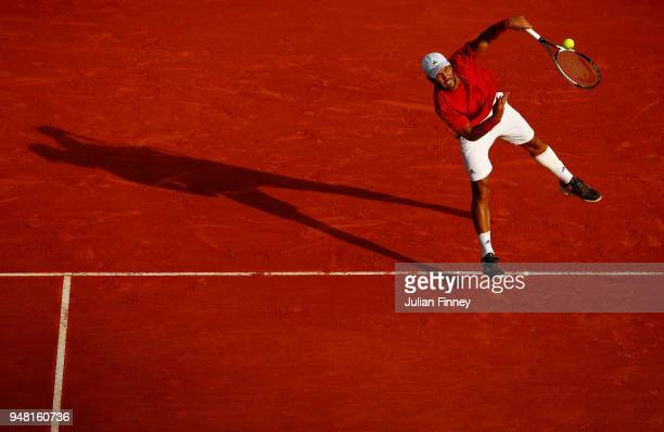 Fernando Verdasco of Spain serving during his Mens Singles match against Marin Cilic of Croatia at MonteCarlo Sporting Club on April 18 2018 in...