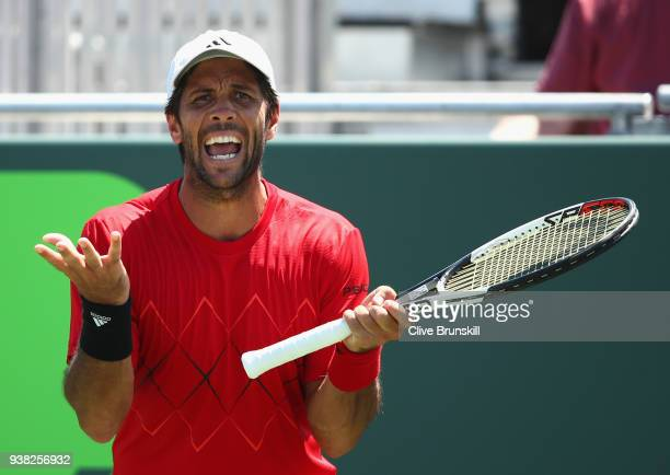 Fernando Verdasco of Spain shows his emotions against Thanasi Kokkinakis of Australia in their third round match during the Miami Open Presented by...
