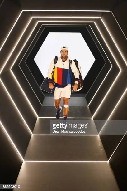 Fernando Verdasco of Spain walks out the players tunnel to play his match against Jack Sock of the USA during Day 5 of the Rolex Paris Masters held...