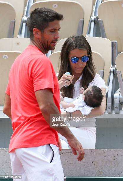 Fernando Verdasco of Spain with his wife Ana Boyer and their newborn son Miguel Verdasco following his practice during the 2019 French Open at Roland...