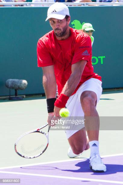 Fernando Verdasco returns the ball to Thanasi Kokkinakis during the Miami Open tennis tournament in Key Biscayne Fla Monday March 26 2018
