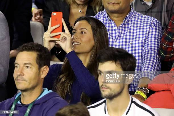 Fernando Verdasco's Fiancee Ana Boyer is seen supporting him during the Rolex Paris Masters at Palais Omnisports de Bercy on October 30 2017 in Paris...