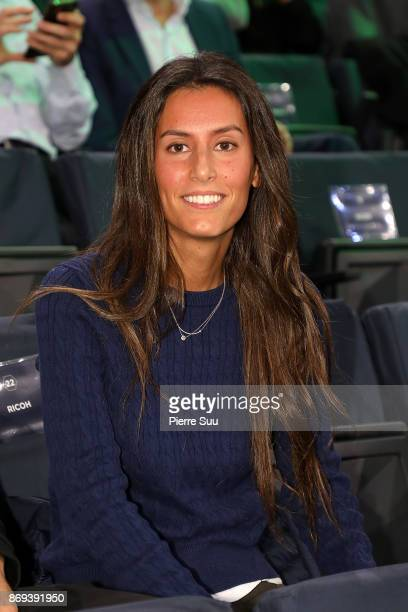Fernando Verdasco's fiancee Ana Boyer is seen watching him play during the Rolex Paris Masters at Hotel Accor Arena Bercy on November 2 2017 in Paris...