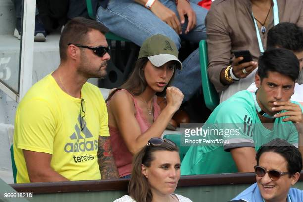 Fernando Verdasco's wife Ana Boyer is seen supporting her husband during the 2018 French Open Day Eight at Roland Garros on June 3 2018 in Paris...