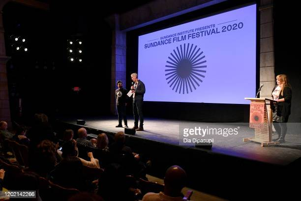 Fernando Villena James D Stern and Ania Trzebiatowska speak onstage during the 2020 Sundance Film Festival Giving Voice Premiere at Egyptian Theatre...