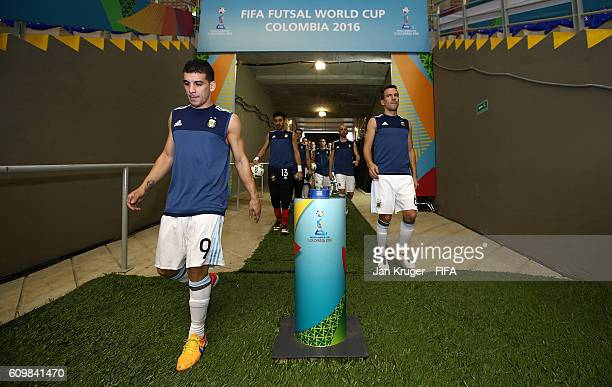 Fernando Wilhelm of Argentina Cristian Borruto and the rest of the squad make their way out to warm up ahead of the FIFA Futsal World Cup round of 16...