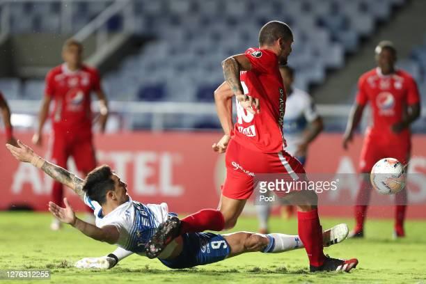 Fernando Zampedri of Universidad Catolica kicks the ball to score the first goal of his team during a group E match of Copa CONMEBOL Libertadores...