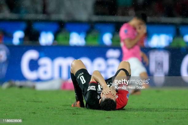 Fernando Zuqui of Colon laments after the final of Copa CONMEBOL Sudamericana 2019 between Colon and Independiente del Valle at Estadio General Pablo...