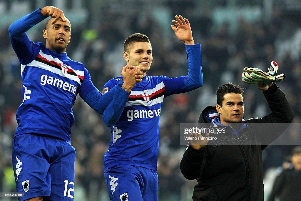 FernandoTissone (L) and Mauro Emanuel Icardi (C) UC Sampdoria celebrate victory at the end of the Serie A match between Juventus FC and UC Sampdoria at Juventus Arena on January 6, 2013 in Turin, Italy.