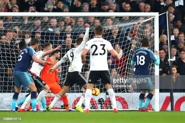 Fernano Llorente scores an own goal to make the score 10 during the Premier League match between Fulham FC and Tottenham Hotspur at Craven Cottage on...