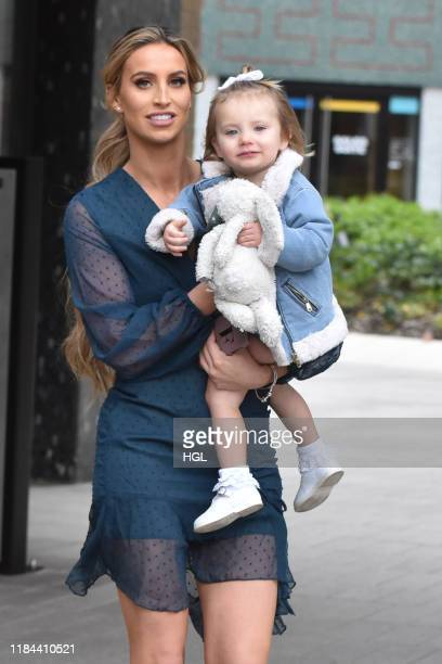 Ferne McCann and daughter Sunday McCann seen leaving the ITV Studios sighting on October 30 2019 in London England