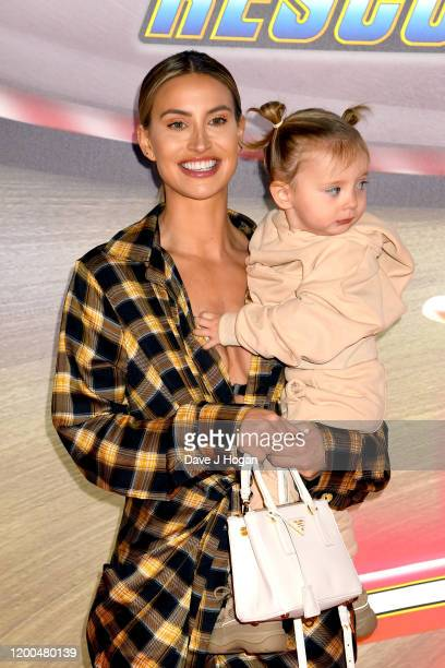 """Ferne McCann and Sunday attend the """"Paw Patrol"""" gala screening at Cineworld Leicester Square on January 19, 2020 in London, England."""