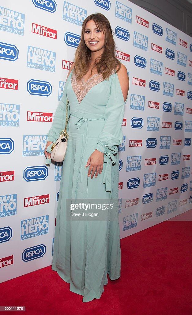 Ferne McCann arrives for Daily Mirror and RSPCA Animal Hero Awards at Grosvenor House, on September 7, 2016 in London, England.