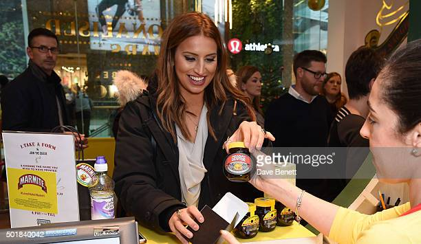 Ferne McCann pays a visit to the Marmite personalisation store in Westfield White City to purchase a special 'naughty' jar for her jungle love...