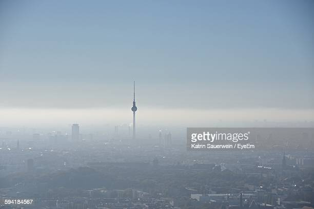 Fernsehturm Against Sky During Foggy Weather