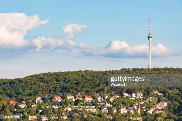 fernsehturm stuttgart at bopser against sky in stuttgart, germany - stuttgart stock pictures, royalty-free photos & images