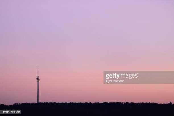 fernsehturm stuttgart - dämmerung stock pictures, royalty-free photos & images