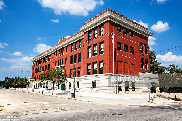 fernwood elementary school in washington heights, chicago - elementary school building stock pictures, royalty-free photos & images