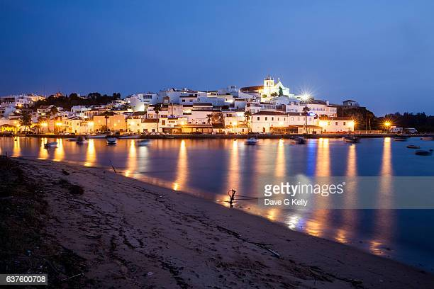 Ferragudo, a little fishing village, at dusk, Algarve, Portugal