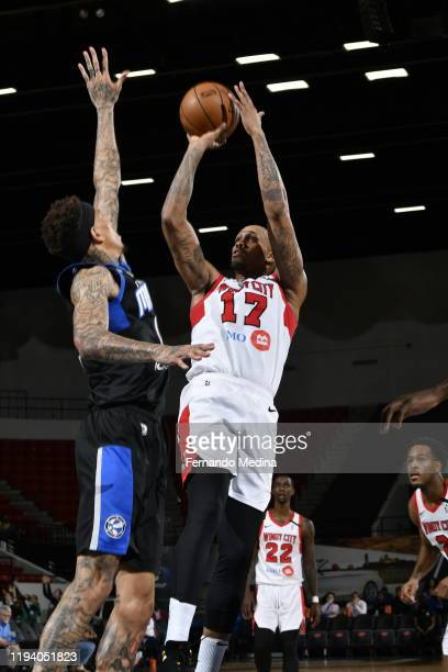 Ferrakohn Hall of the Windy City Bulls shoots against Michale Kyser of the Lakeland Magic during the game on January 16 2020 at the RP Funding Center...