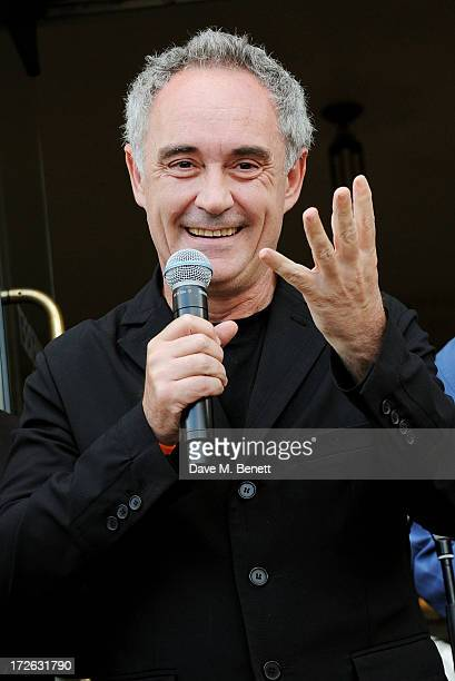 Ferran Adria speaks at the private view of 'elBulli Ferran Adria and The Art of Food' at Somerset House on July 4 2013 in London England The...